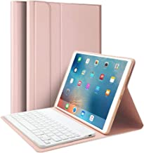 "iPad Air 10.5"" (3rd Gen) 2019 & iPad Pro 10.5"" 2017 Keyboard Case, Upworld Ultra-Slim Lightweight Front Support Stand PU Cover Case with Magnetically Detachable Removable Wireless Keyboard(Rose Gold)"
