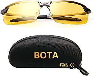 Bota Driving Glasses for Men Women, Safety Day Night Driving Glasses, Polarized Motorcycle Clear Vision Glasses - Fit for Driving Cycling Risk Reducing Anti-Glare UV400 Protection (Night Vision Lens)