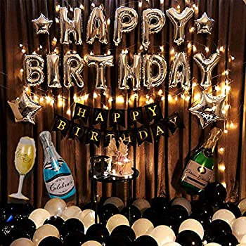 Birthday Party Decoration For Adult Happy Birthday Banner Black and White Balloons Party Supplies With String Light for Men and Women- All Total 60 Pcs