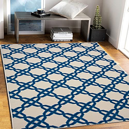 PRIYATE Colorado Collection Geo Trellis Area Rug - Polypropylene, Non Slippery, Water Repellent for Indoor, Floor Carpets, Foyer, Living, Dining and Bedroom (Ivory, Size : 240 X 305)
