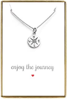 Small Compass Necklace Sterling Silver, Enjoy the Journey Necklace, Graduation Gift Necklace, 18 Inches