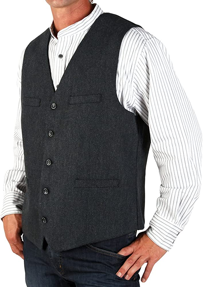 The Celtic Ranch Men's Blended-Wool Irish Tweed Vest with Full Back, Fabric Belt, 4 Pockets, and Herringbone Pattern