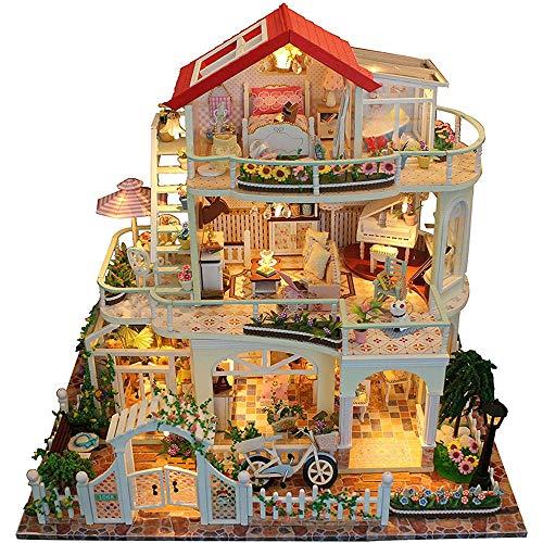 Casa de muñecas de bricolaje - Miniatura de la casa de muñecas con muebles Kit de la casa de muñecas de madera DIY Kit de cabina ensamblada con hechos a mano con LED Lujoso 3 capas Casa de campo