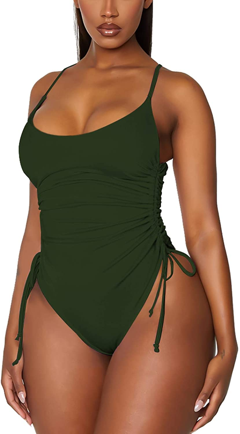 TEWWEY Women's Tummy Control One Piece Swimsuits Ruched Bottom Drawstring Bathing Suits Swimwear