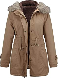 Women's Zipper Thicken Faux Fur Trim Hood Warm Long Sleeve Drawstring Waist Short Down Jackets Overcoats Jackets