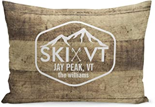 Aikul Throw Pillow Covers Skiing Ski Vermont Rustic Jay Peak Stowe Killington Stratton Pillow Case Cushion Cover Lumbar Pillowcase Decoration for Couch Sofa Bed Car,20 x 30 inchs