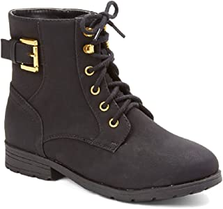 Little Kids Toddler Girls Military Style Lace-Up Combat Ankle High Dress Boots