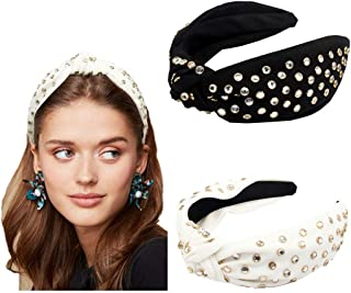 Beads Embellished Headband Knotted 2 Pack Wide Band Fashion Cute Studs Hair Hoop Headbands For Adult Girl