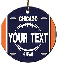 Bleu Reign BRGiftShop Personalized Custom Name Football Team Chicago Round Ceramic Tree Ornament