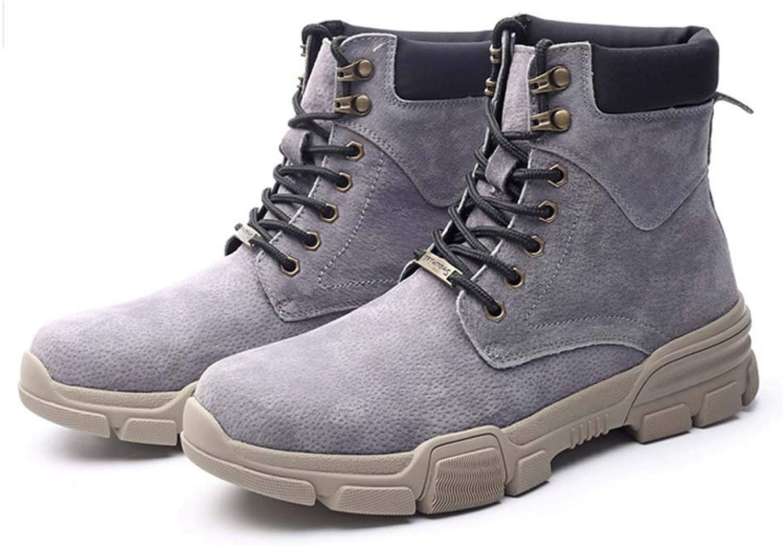 SIPENGFEI Herren Martin Stiefel Herbst Winter Round Toe Lace Up Warm Britischen Trend Combat Stiefel