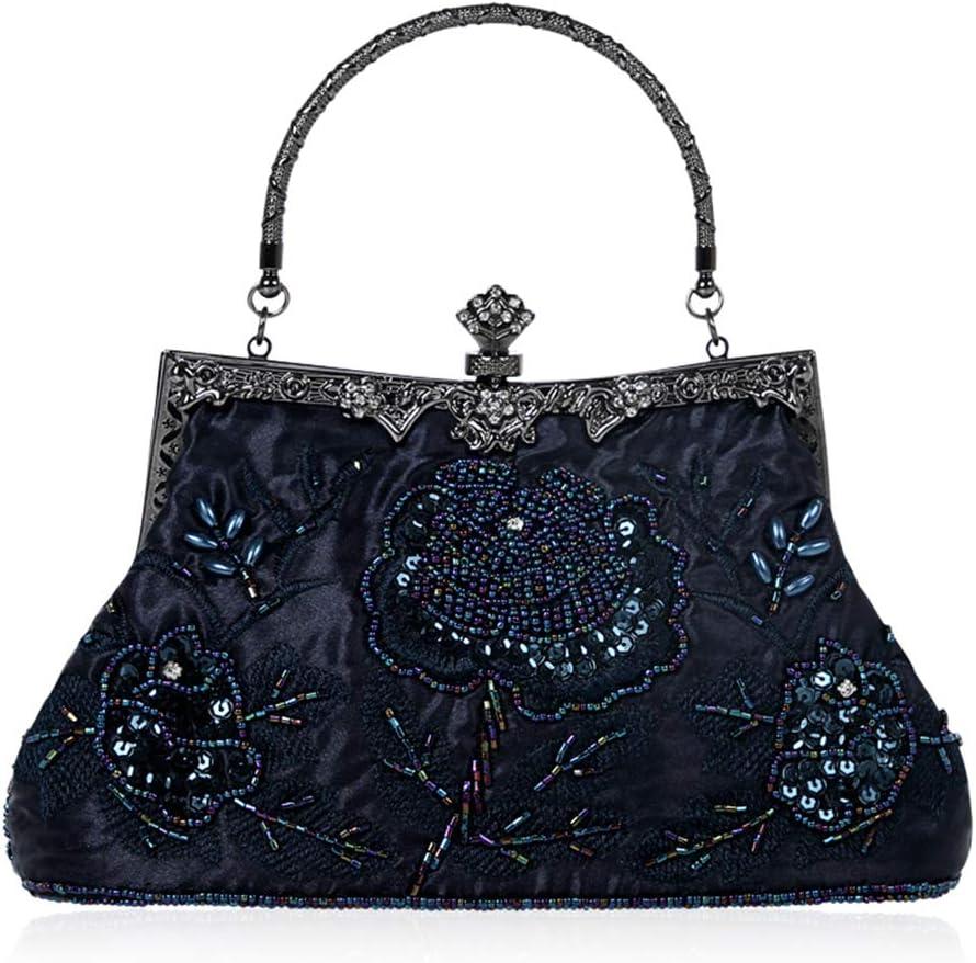 Women's Evening Clutch - Elegant Frame Beaded Evening Purses and Handbag Cocktail Party Bag