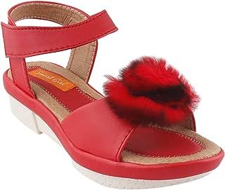 ZORDIK Girl's Designer Wedges Sandals (Red)