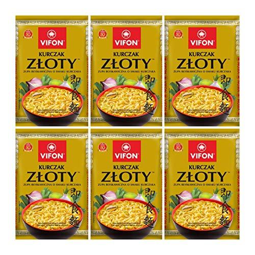 VIFON ZLOTY KURCZAK Gold Chicken Flavor Soup Instant Pho Noodle Soup Pack of 6 x 70 g