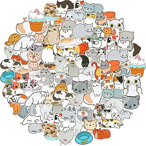 100 StückeNette Katze Laptop Aufkleber Wasserdichte Vinyl Kawaii Aufkleber für Wasserflaschen Karikatur Katze Aufkleber für Dekoration Laptop Gepäck Skateboard Auto Fahrrad Telefon Fall
