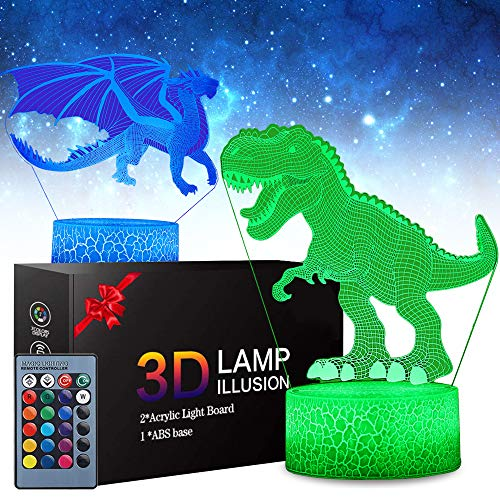 SJIAHEE 3D Dinosaur Night Light Birthday Xmas Festival Gifts for Room Decor 7 Colors Changing Table Lamp … (2 Pattern 16 Colors)