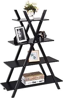 Giantex 4 Tier Bookshelf Storage Shelves Bookcase Ladder Shelf Home Office X-Shape Potted Plant or Flower Rack Display Shelves Easy Assembly (Black, 31.5