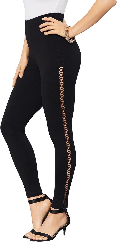 Roamans Women's Plus Size Crochet Essential Stretch Legging Activewear Workout Yoga Pants