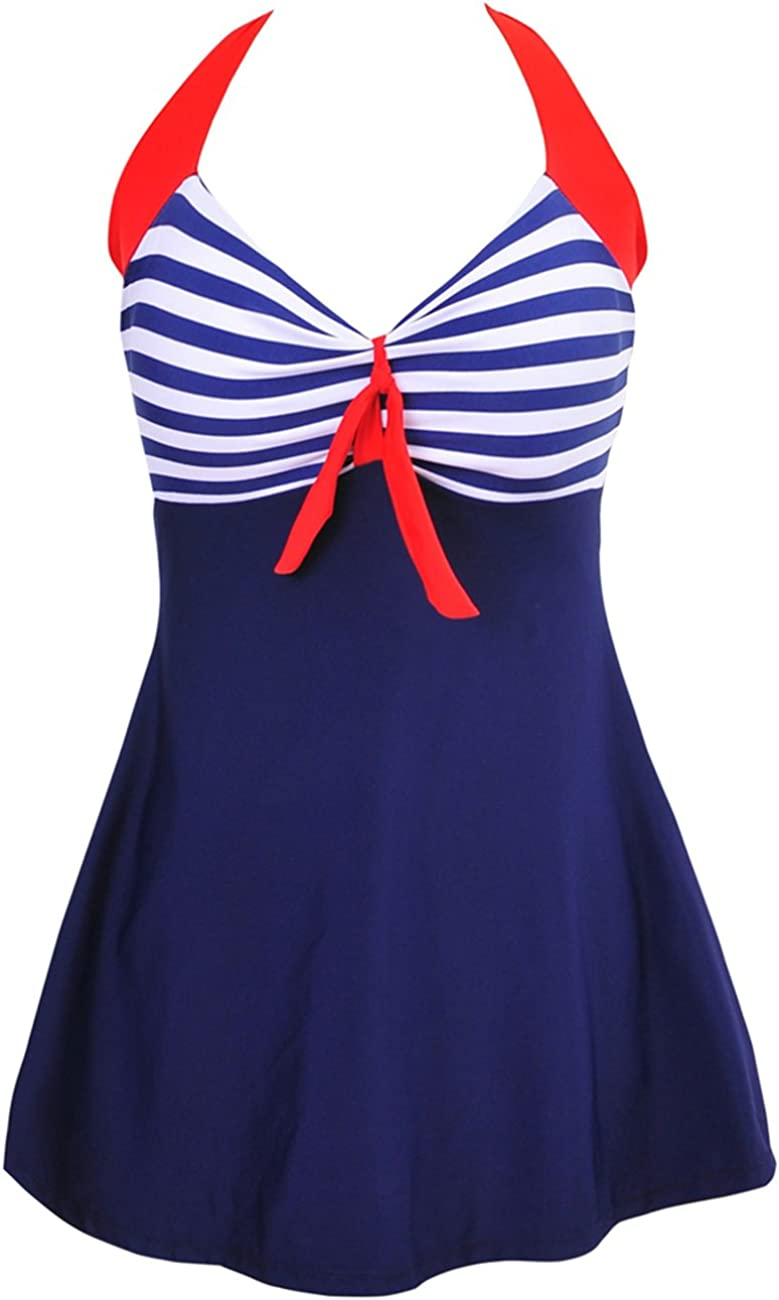 Women Vintage Swimdress Halter Sailor up Swimsuit Piece Pin One SEAL limited product Award