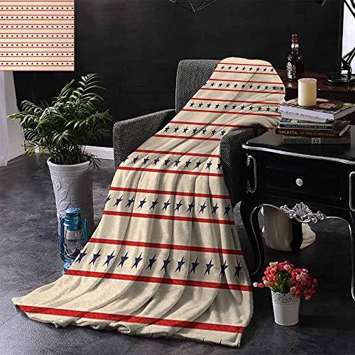 GGACEN Babydeken Horizontale Grenzen Patriottische Sterren Nostalgische USA Design Patroon Zachte en comfortabele slaapbank 35
