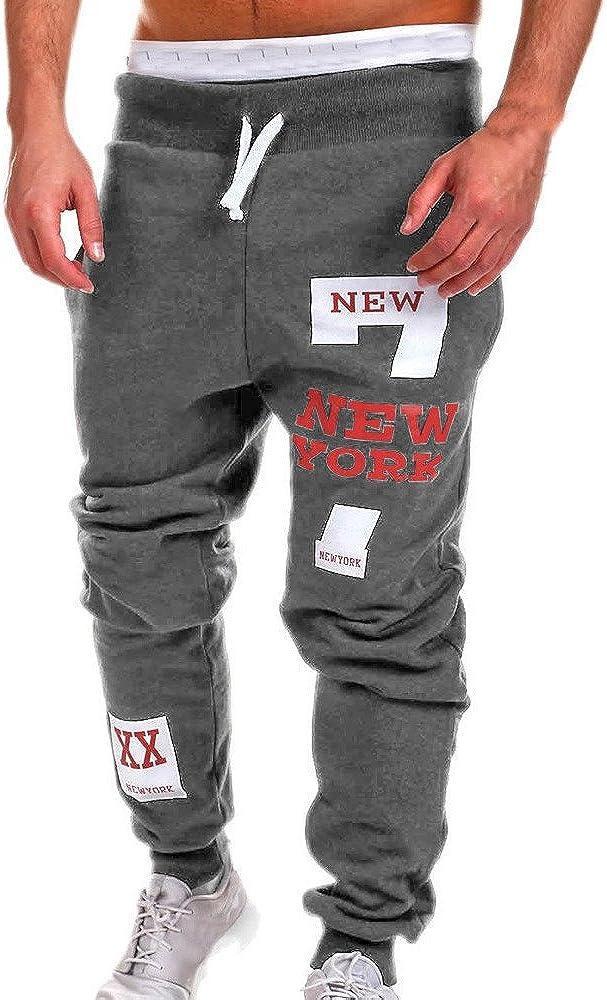 Mens Sweatpants Hip Hop Dance Jogger Pants Causal Print Trousers with Drawstring Pocket Novelty Cool Streetwear