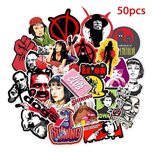 50 Pieces of Classic Movie Stickers Luggage Laptop Art Painting Kill Bill Paper Pulp Novel Poster Stickers Waterproof Skateboard Stickers
