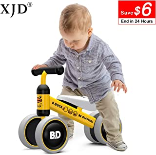 XJD Baby Balance Bikes Baby Bicycle for 10-24 Months Toddler Bike Toys for 1 Year Old Boy Girl No Pedal Infant 4 Wheels First Birthday Gift Children Walker
