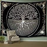 QAWD Luna y Estrella Tarot Tapiz Colgante de Pared árbol de la Vida Blanco y Negro brujería Fondo Tela Manta Tela Colgante A2 73x95cm