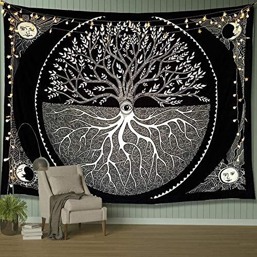 Sonne und Mond Wandteppich, Wandteppich, schwarz und weiß, Baum-Wandbehang, Mandala, Bohemian-Stil, Wandteppich für Schlafzimmer, Wohnzimmer, Wohnheim (200 x 150 cm)