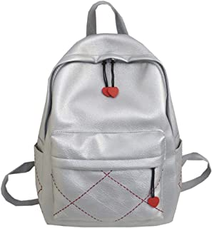 Simple Personality Women's Backpack Travel School Shoulder Bag Daypack (Color : Silver, Size : 30 * 13 * 39cm)