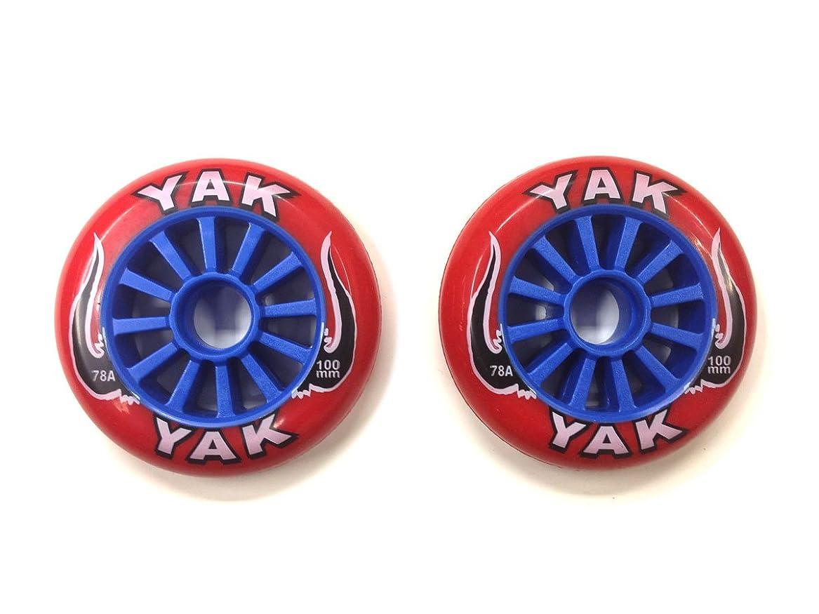 コンデンサーチーフゆりYAK キックボード用ウィール 100mm x 78a(Soft)前後Set (Red on Blue)