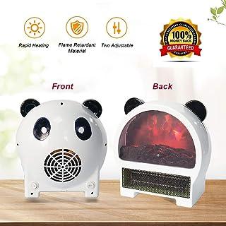 Calefactor Eléctrico de Aire Bajo Consumo Personal Calentador Portátil Forma de Panda PTC Elemento de Cerámica para Hogar y OficinaWhite