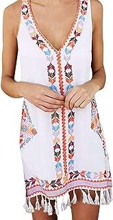 Women Summer Dress V-Neck Bohemia Print Sleeveless Loose Beach Mini Tassel Casual Dress Sundress