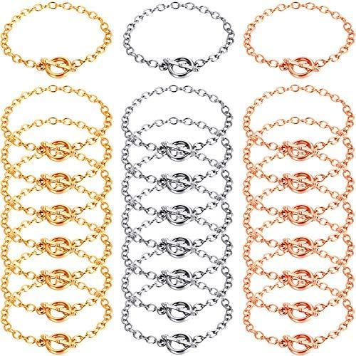 24 piezas pulseras de cadena de acero inoxidable pulsera de eslabones cadena pulsera pulsera de palanca con ot Toggle..