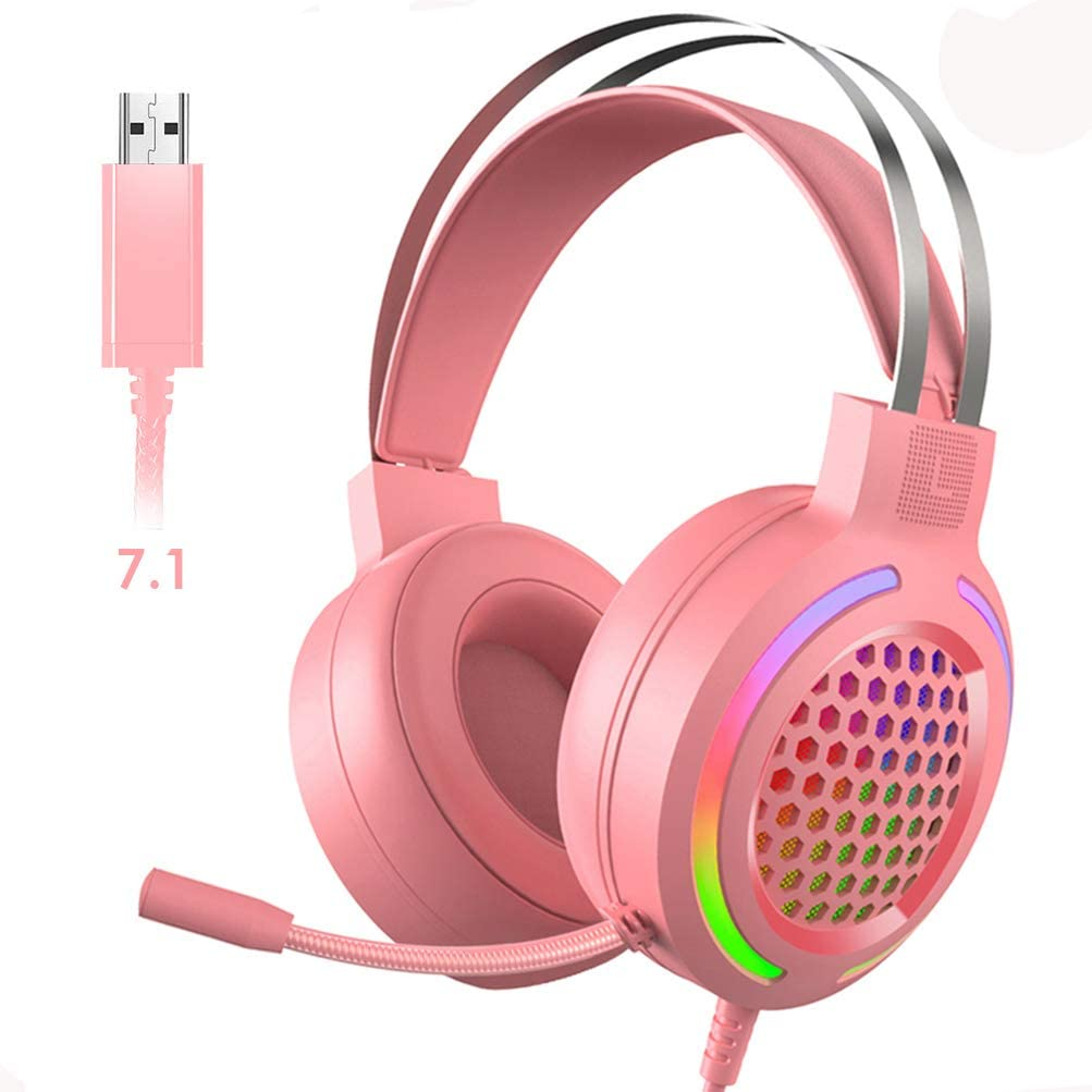 Gaming Headset with 7.1 Surround Sound,PC Lightweight Headset with Noise Canceling Mic,Bass Surround,Soft Memory Earmuffs,Rainbow LED Backlit for PC,PS4,Xbox One Controller(Adapter Not Included)(Pink)