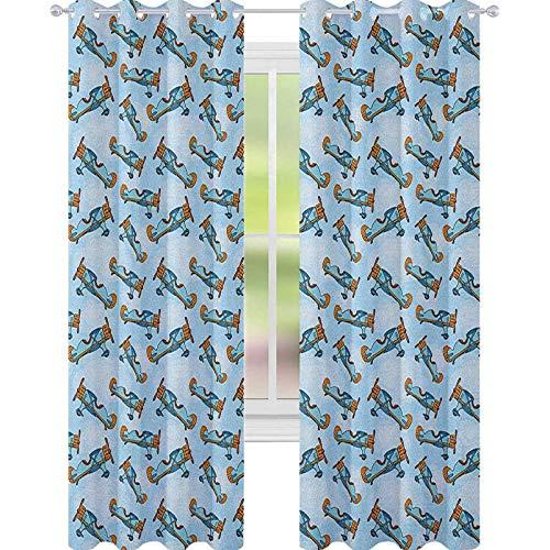 YUAZHOQI Cortina de aviones para puertas francesas de dibujos animados aeronaves volando en el cielo azul modelos vintage para puertas de cristal de 132 x 274 cm, color azul pálido, naranja