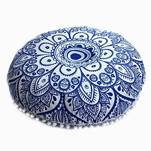 Mamum Indien Mandala Housse de Coussin, Rond bohémien Coussins Oreillers Couverture Cas (Bleu)