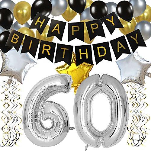 KUNGYO 60 Buon Compleanno Festa Decorazioni Kit - Nero Striscione di Happy Birthday, Pallone 60 in Argento, Stelle Palloncini , Lattice Ballon, Turbinii Appesi, Rifornimenti per Feste di 60 Anni