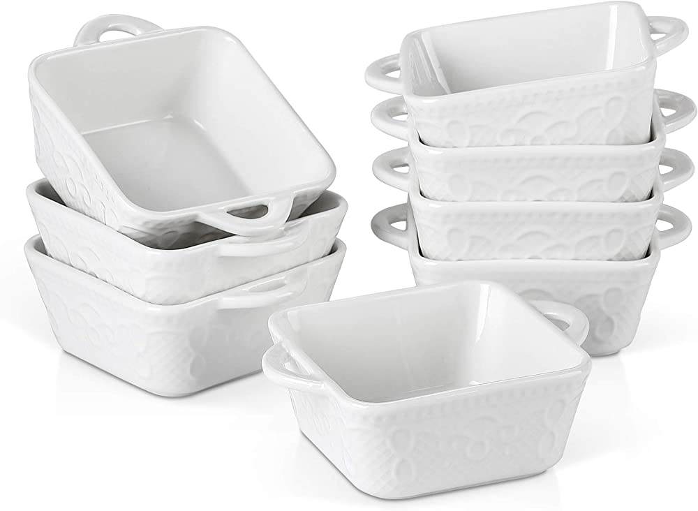 Malacasa , mini teglie quadrate da forno , in ceramica , 8 pezzi BAKE-MINI-002*2