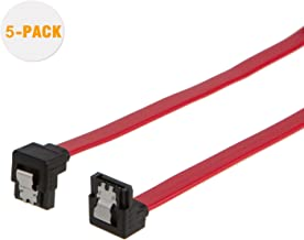 SATA III Cable, CableCreation [2-Pack] 8-inch SATA III 6.0 Gbps 7pin Down Angle Female to Down Angle Female Data Cable with Locking Latch, Red