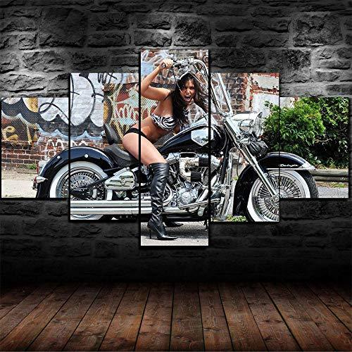QIXINGFU Pintura En Lienzo Art - Bella Mujer En Moto- 5 Piezas De Material No Tejido Impreso Impresión Artística Imagen Gráfica Decoración De Pared 100X55Cm Regalo del Dia De La Madre