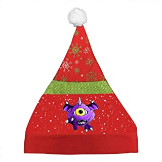 IHJUTp One Eyed One Horned Printed Cartoon Christmas Hats Santa Hat Xmas Caps for Adult Or Children
