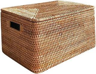 3 jeux de paniers de rangement de rotin naturels de grande taille, boîtes en osier tissées rectangulaires pour stocker des...