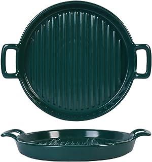 Kitchen Baking Dish Porcelain Au Gratin Pans، شريط طبق صحن الخبز السيراميك جولة، خبز مع مقبض مزدوج للمطبخ والمنزل، مجموعة ...