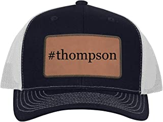 #Thompson - Leather Hashtag Dark Brown Patch Engraved Trucker Hat