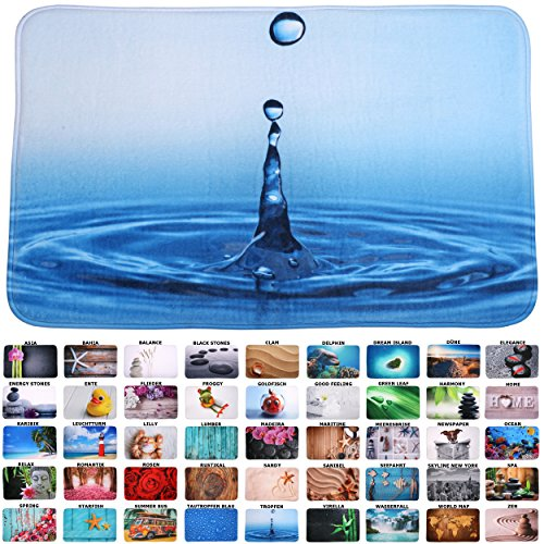 Sanilo Badteppich I viele schöne Badematten zur Auswahl I Badvorleger sehr weich und rutschfest I waschbar und schnelltrocknend (50 x 80 cm, Tropfen)