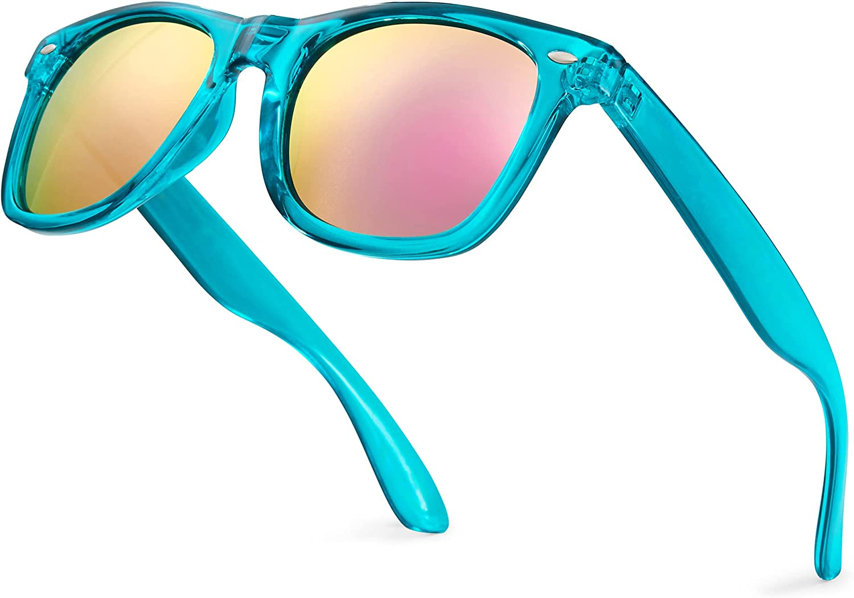 Retro Rewind Translucent Frame Colorful Neon 80s Mirrored Sunglasses for Men Women