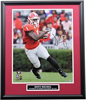 Sony Michel Autographed Signed Georgia Bulldogs Framed 16x20 Photo with Nameplate - Beckett Sports Collectibles Authentication