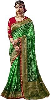 green Indian Woman Wedding Swarovski Pallu Saree Pure Soft Silk Bandhej Weaving Bridal Bandhani Sari Blouse 6246 3