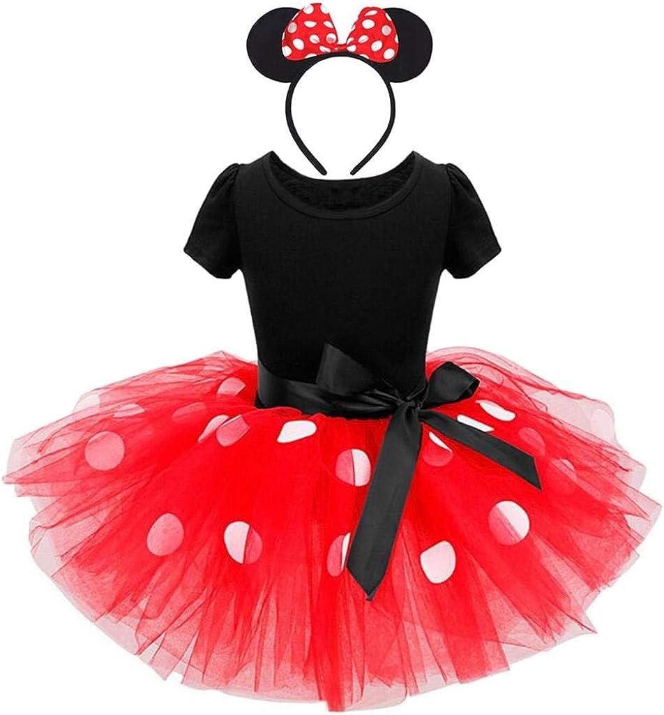 Lito Angels Disfraz de Minnie Mouse para Niña con Orejas de Ratón Aro de Pelo, Vestido de Tul Tutu con Lunares de Fiesta Cumpleaños Carnaval, Rosa Caliente / Rosa / Rojo