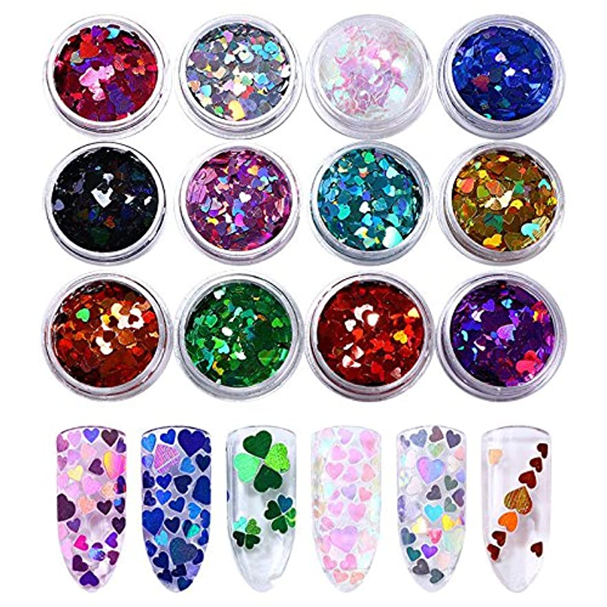 やけど選出する概要FidgetGear 12ボックスホログラフィックネイルスパンコールマルチサイズ虹色ハートパレットマニキュア